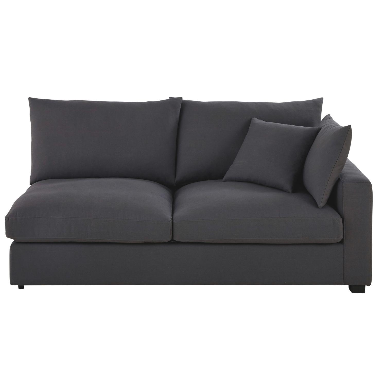 Canapé-lit accoudoir droit en coton gris ardoise Rhodes | Maisons du ...