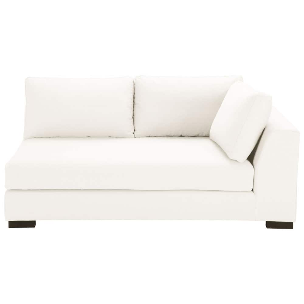 Canap manchot droit convertible coton ivoire terence for Canape couchage permanent