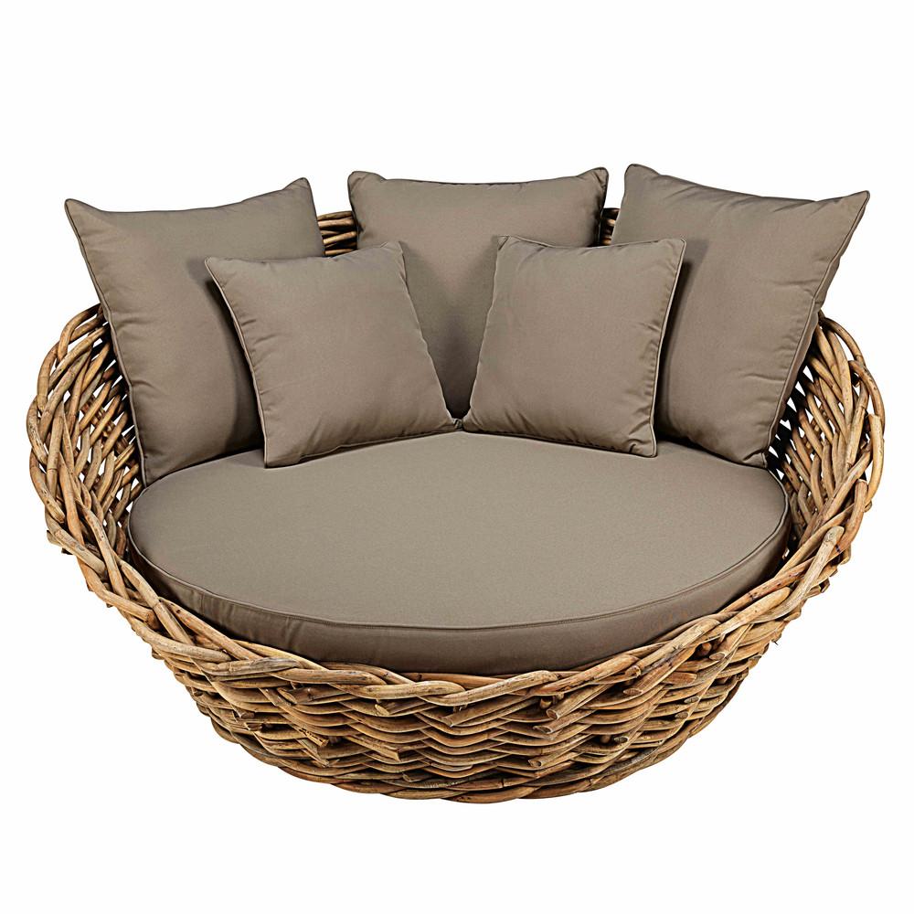 Canap rond de jardin en rotin et coussins taupe st tropez - Coussin pour canape exterieur ...