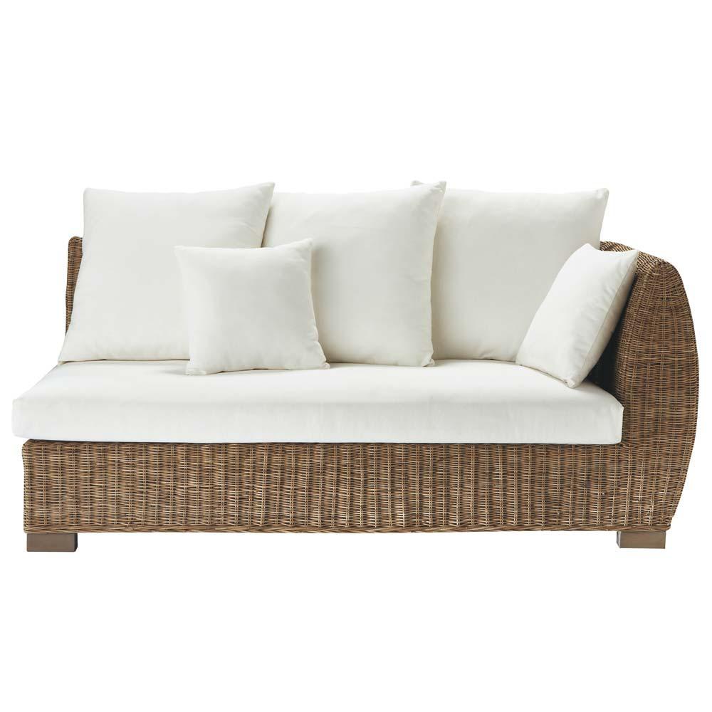 canap rotin 2 places accoudoir droit hampton maisons du. Black Bedroom Furniture Sets. Home Design Ideas