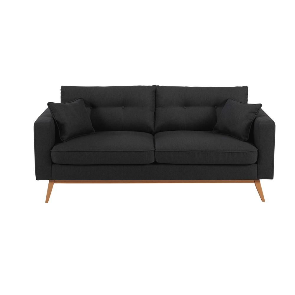 canap scandinave 3 places en tissu anthracite brooke maisons du monde. Black Bedroom Furniture Sets. Home Design Ideas
