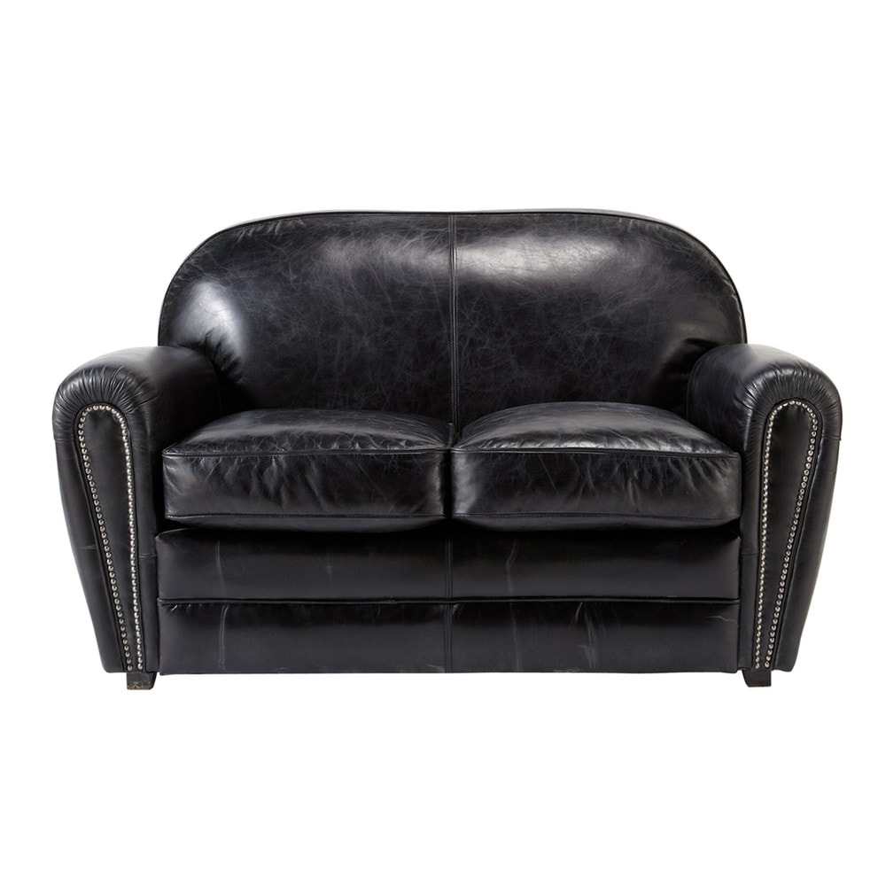 Canap vintage 2 places en cuir noir oxford maisons du monde for Canape 2 places arrondi