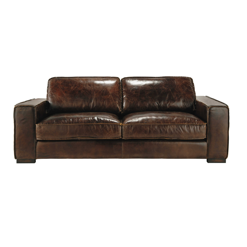 Canap vintage 3 places en cuir marron colonel maisons du monde - But canape cuir 3 places ...