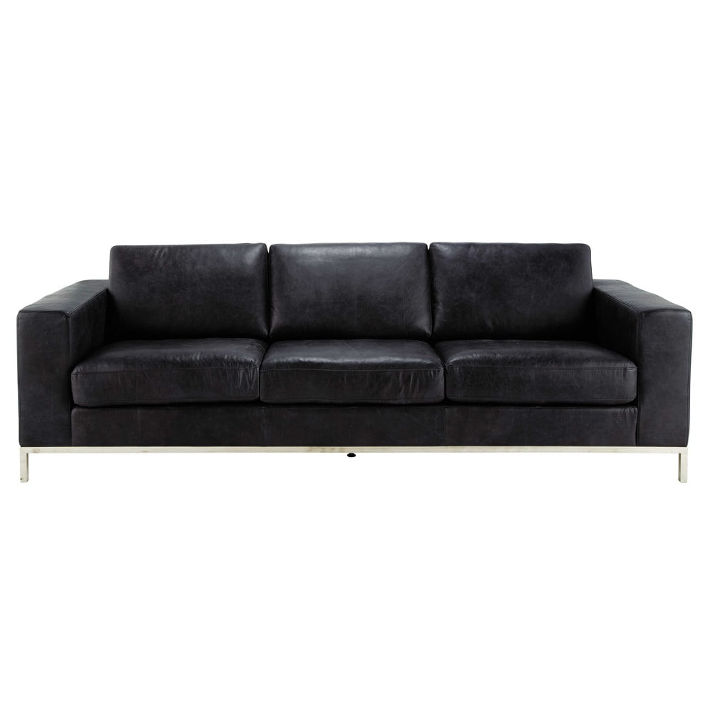 Canap vintage 4 places en cuir noir jack maisons du monde for Canape 11 places