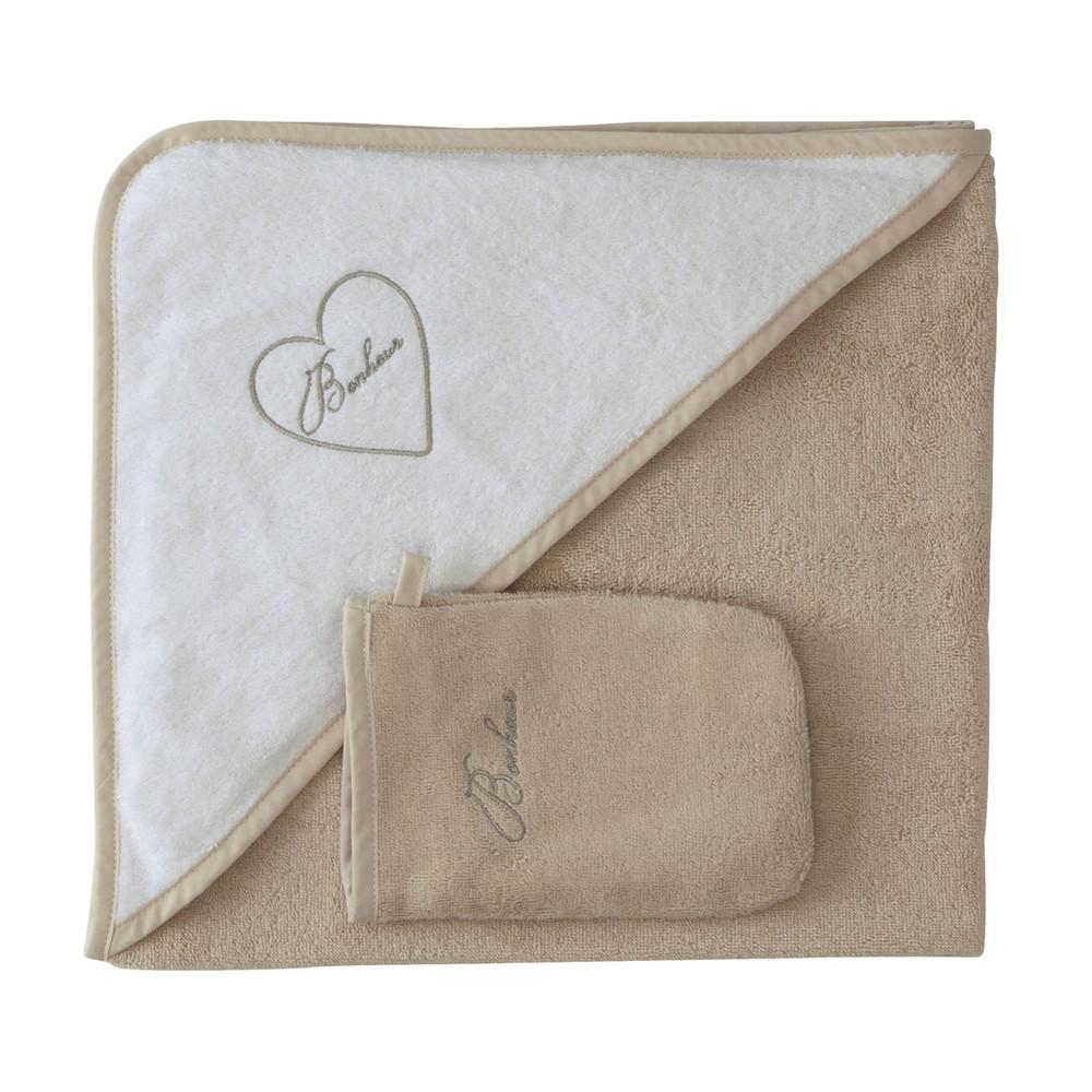 cape de bain b b gant en coton blanc beige pastel. Black Bedroom Furniture Sets. Home Design Ideas