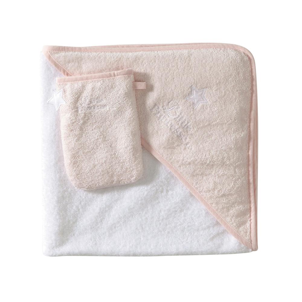 cape de bain b b gant en coton blanc rose pastel. Black Bedroom Furniture Sets. Home Design Ideas