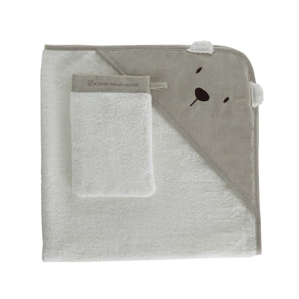 cape de bain b b gant en coton blanche ourson maisons. Black Bedroom Furniture Sets. Home Design Ideas