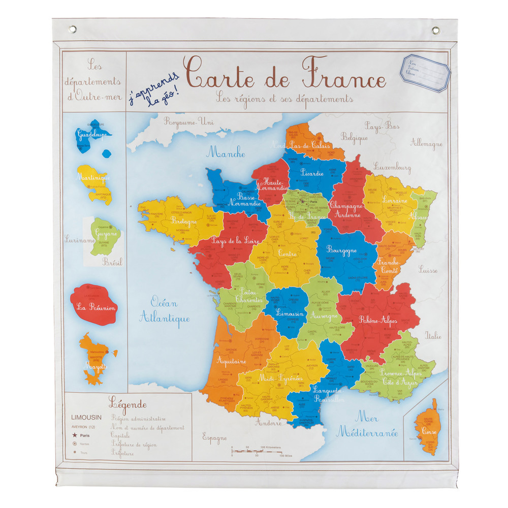 Carte de france ecolier maisons du monde for La maison du monde fr