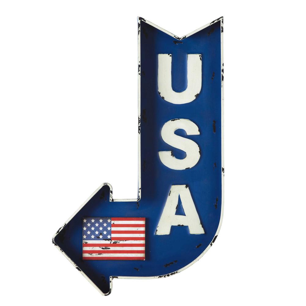 Cartel flecha de metal azul 50 x 80 cm usa maisons du monde for Maisons du monde usa