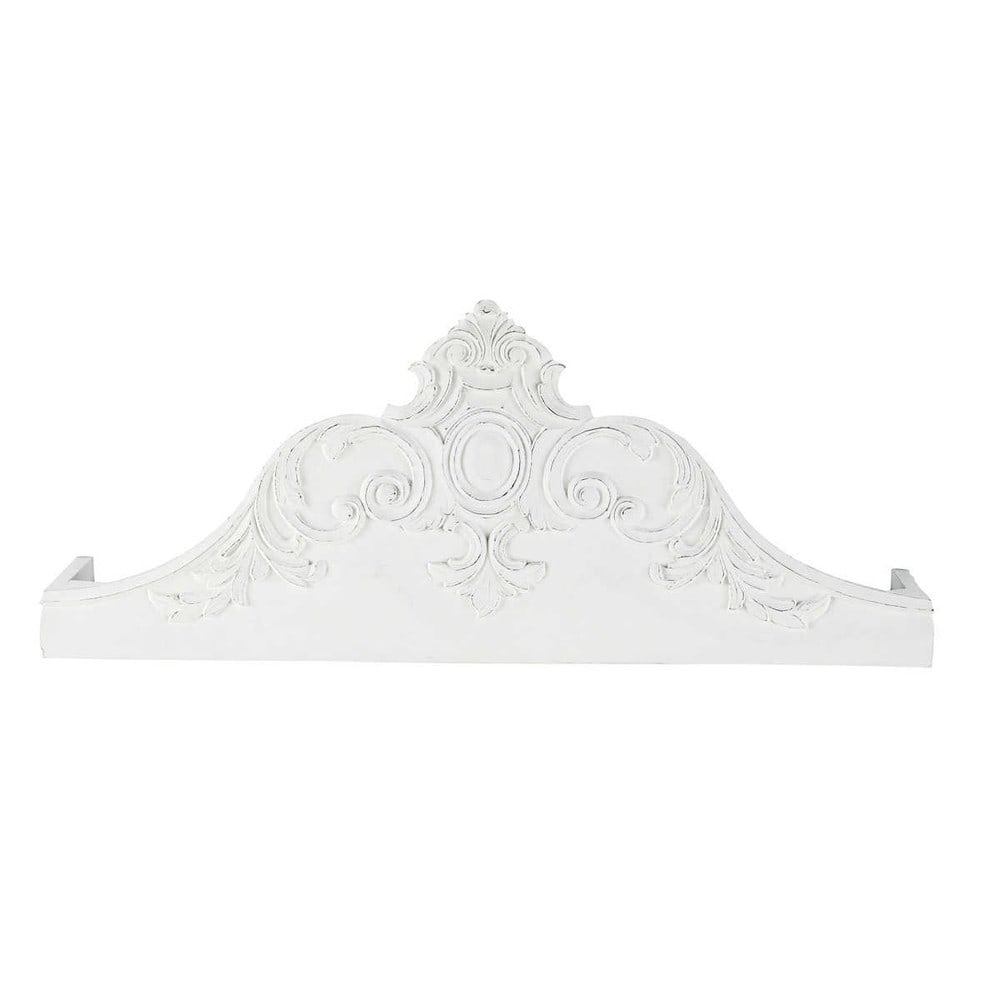 carved solid mango wood bed canopy in white w 100cm carved solid mango wood