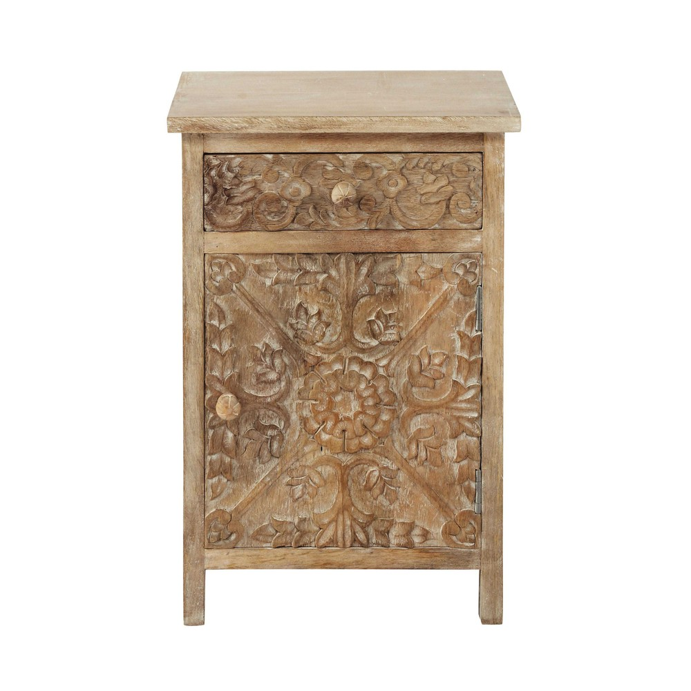 carved solid mango wood bedside table with drawer in whitewash w 42cm carved solid mango wood