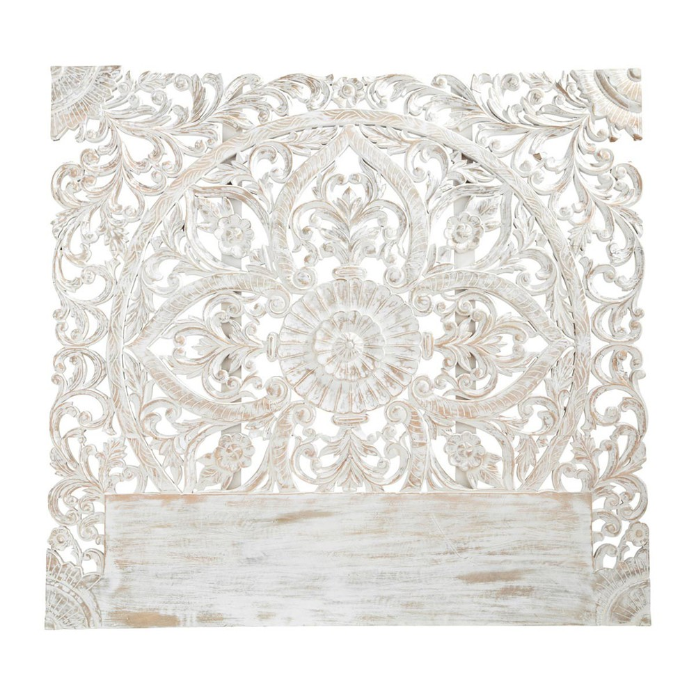 Carved Solid Mango Wood Headboard In White With Distressed