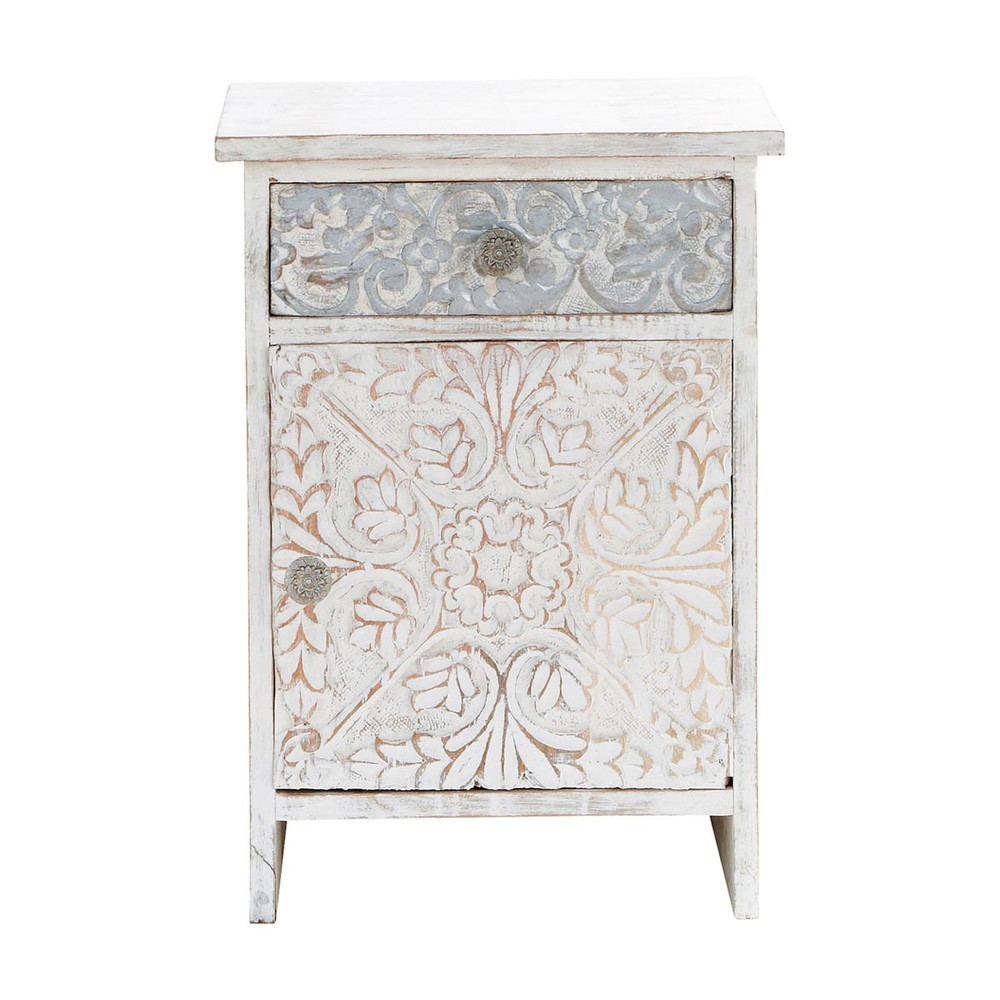 Carved solid mango wood indian bedside table in white w for Table tv blanche