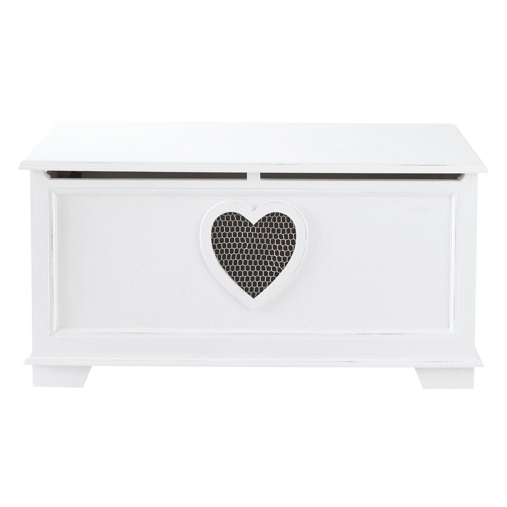 cassapanca bianca in legno l 90 cm valentine maisons du monde. Black Bedroom Furniture Sets. Home Design Ideas