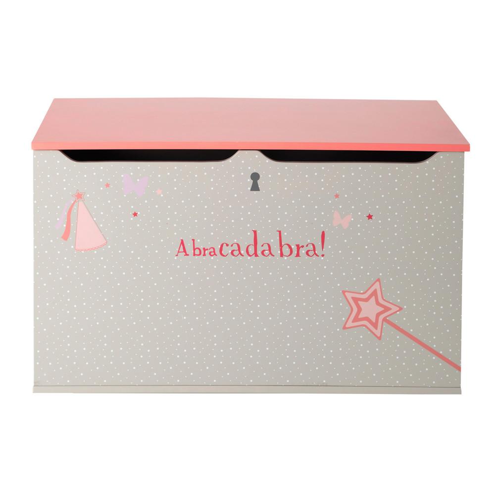cassapanca grigia e rosa in legno per bambini l 70 cm