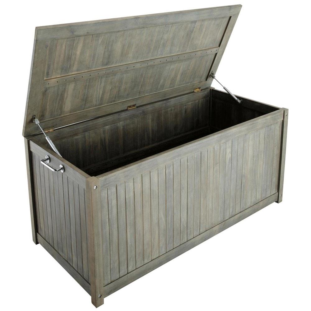 cassapanca grigia in acacia l 130 cm saint malo maisons. Black Bedroom Furniture Sets. Home Design Ideas