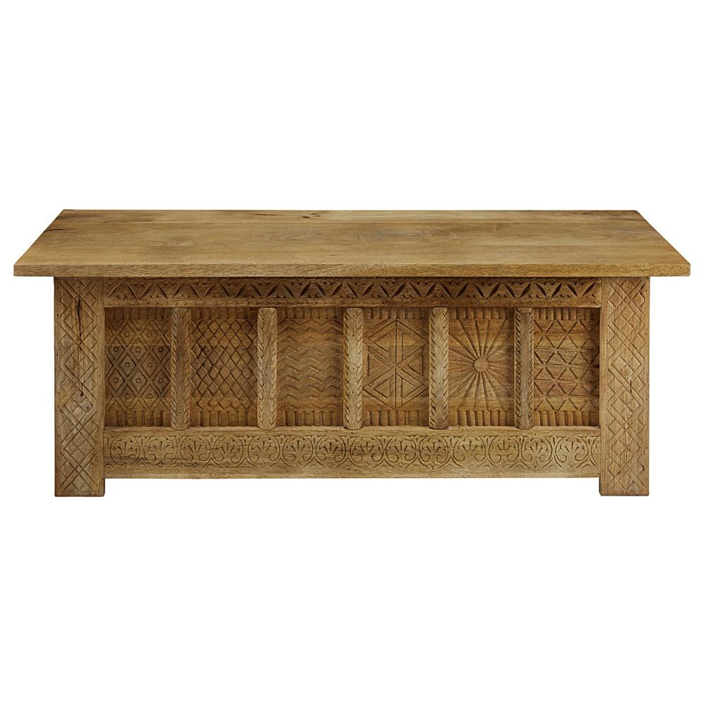 Cassapanca in legno massello di mango scolpito for Panca contenitore maison du monde