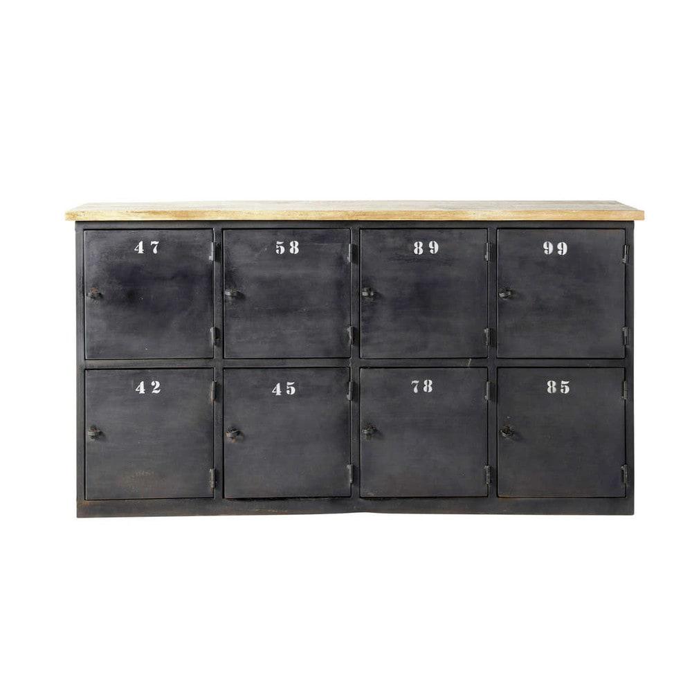Cassettiera color antracite stile industriale in metallo l for Cassettiera maison du monde