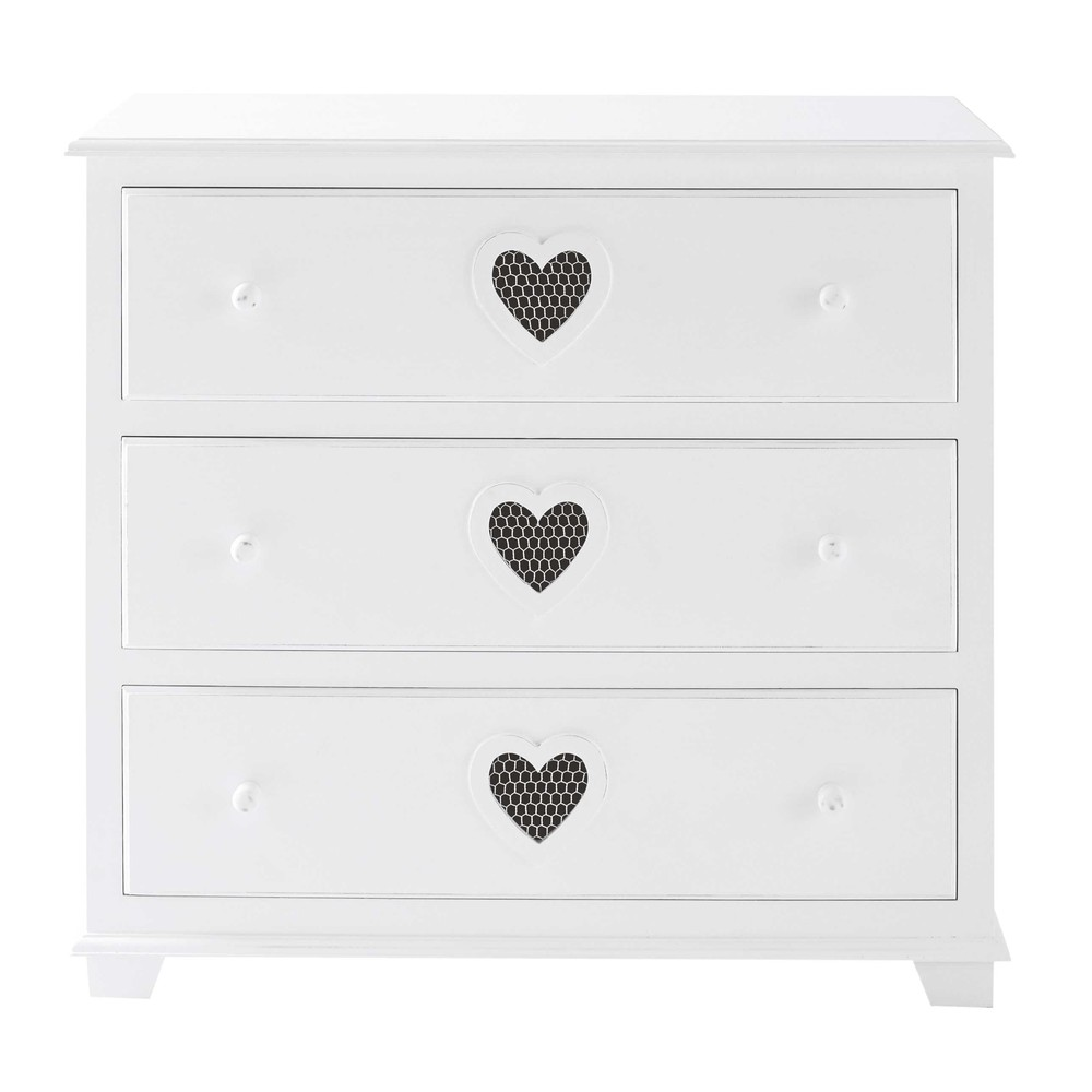 cassettone bianco in legno l 90 cm valentine maisons du monde. Black Bedroom Furniture Sets. Home Design Ideas