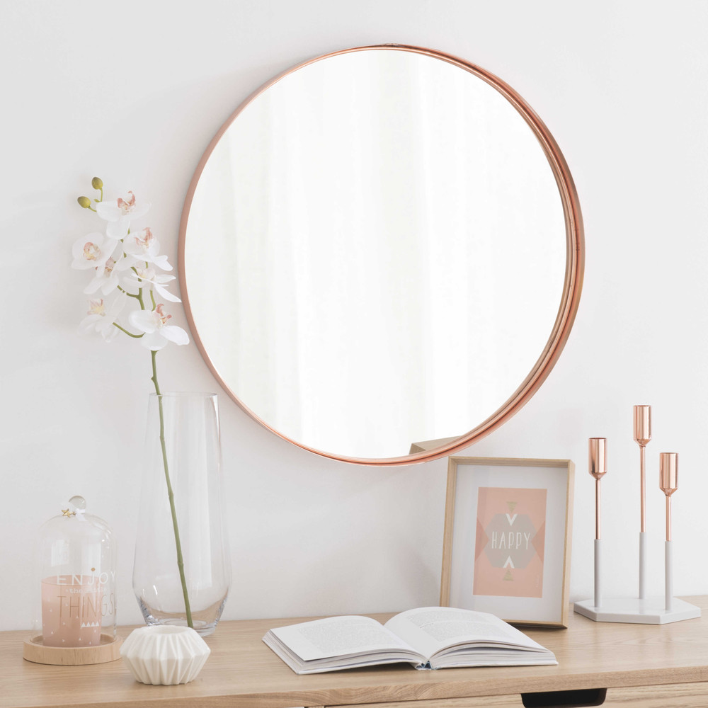 cassy copper finish metal mirror d 55cm maisons du monde. Black Bedroom Furniture Sets. Home Design Ideas