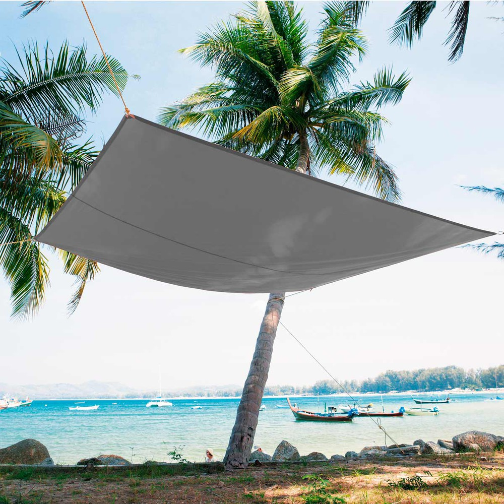 casteja fabric shade sail in grey 245 x 348cm maisons du monde. Black Bedroom Furniture Sets. Home Design Ideas