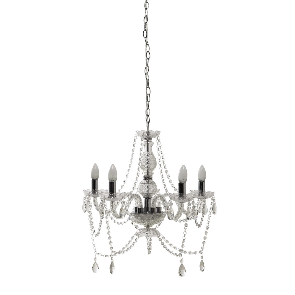 c leste crystal 5 branch chandelier h 41cm maisons du monde. Black Bedroom Furniture Sets. Home Design Ideas