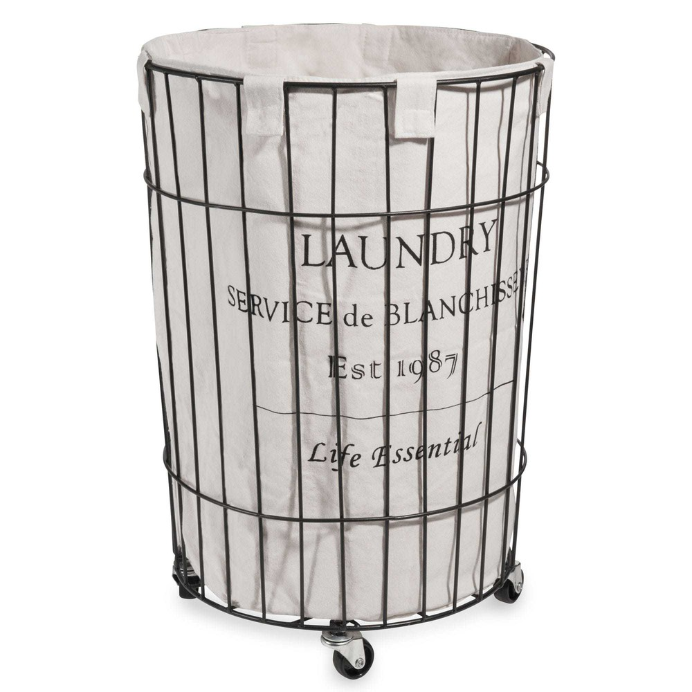 cesta de ropa met lica con ruedas alt 56 cm maisons du