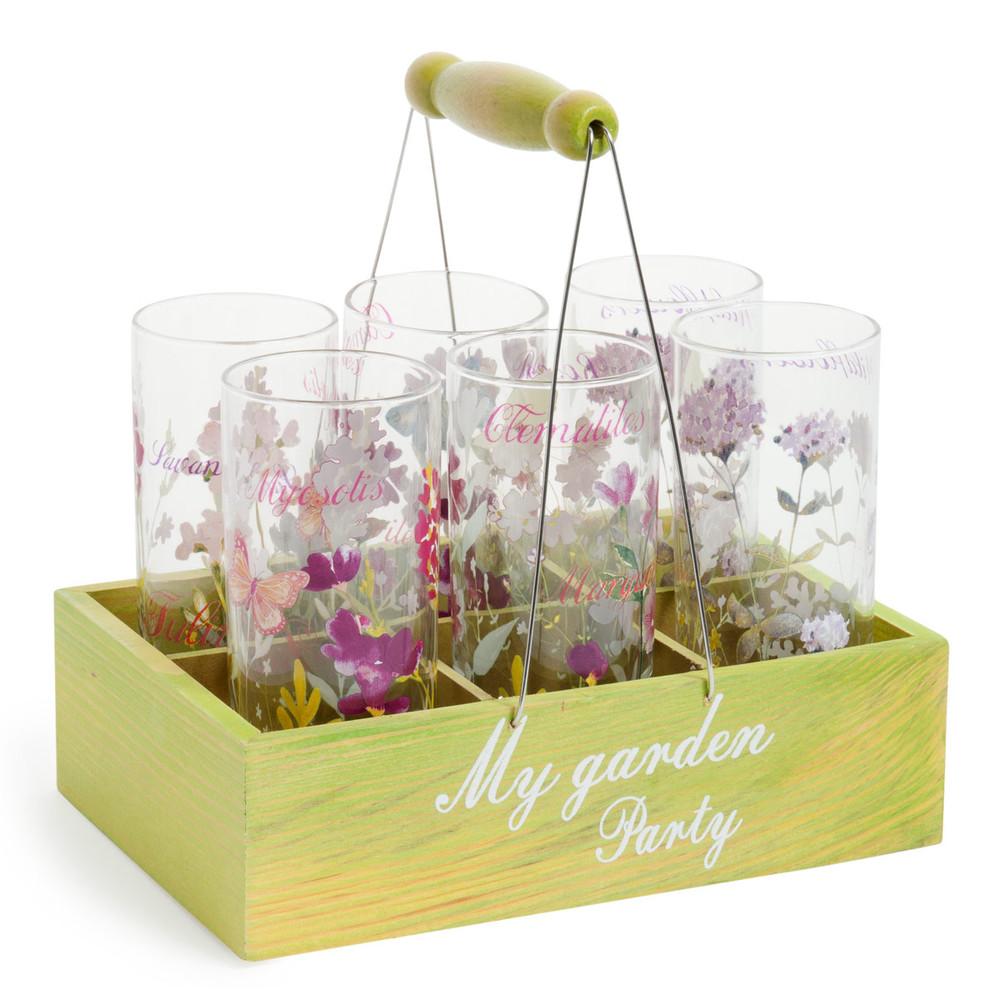 Cestino 6 bicchieri in vetro garden maisons du monde - Mobiletti in vetro ...