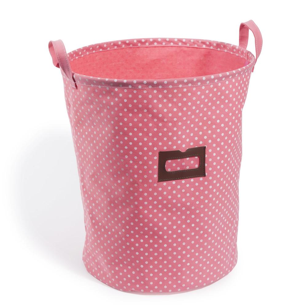 cesto de almacenaje rosa de lunares lilas maisons du monde