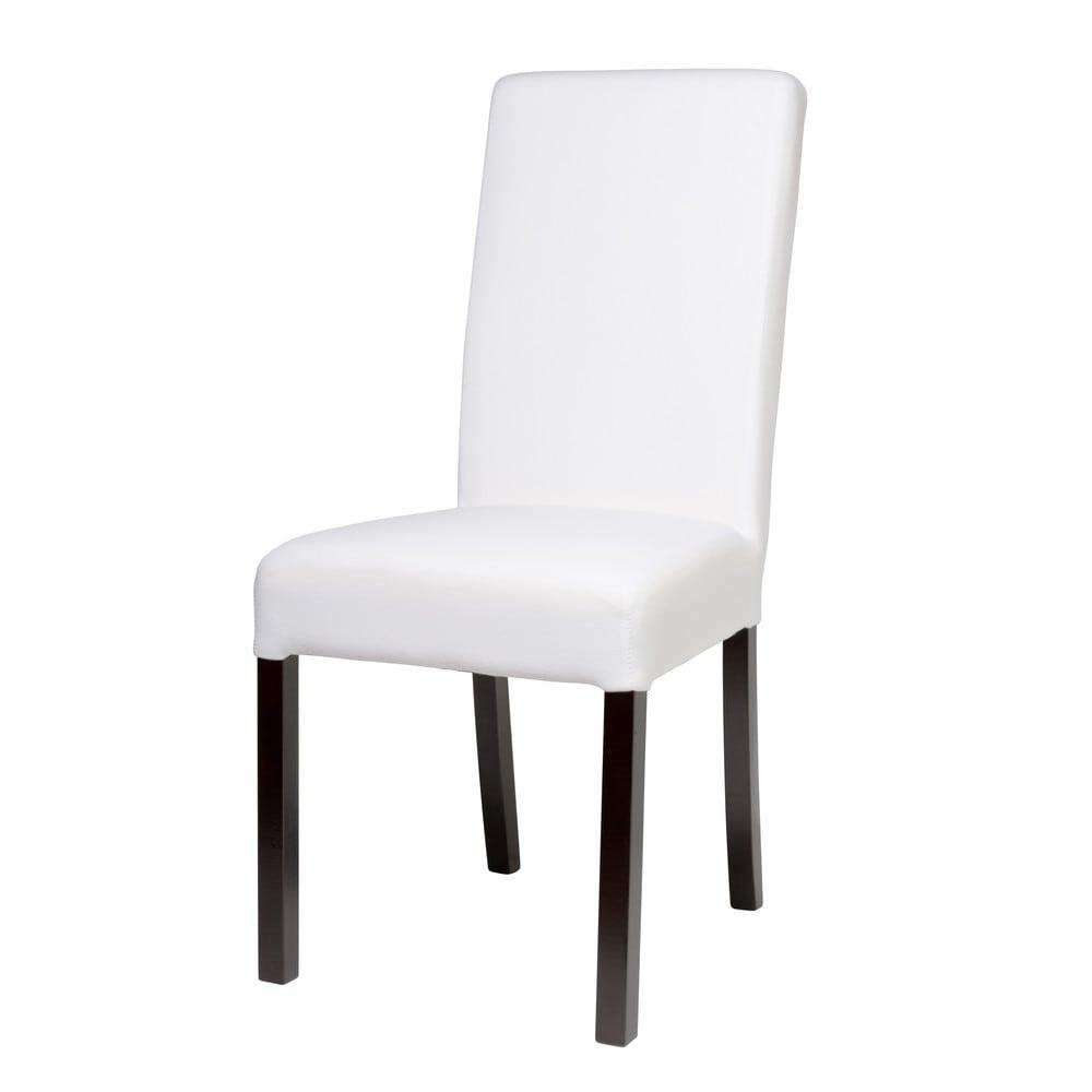 Chaise housser en tissu et bois blanche margaux for Chaise blanche tissu