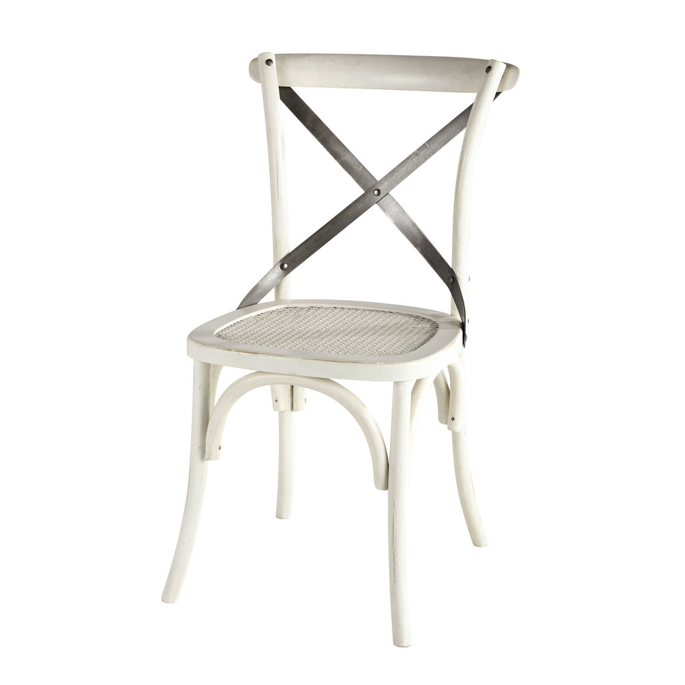 Chaise bistrot blanche tradition maisons du monde for Chaise en bois bistrot