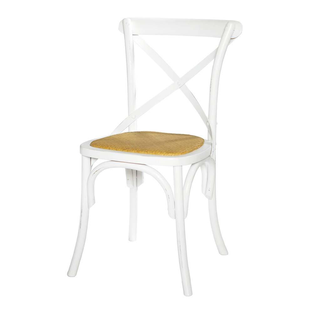 Chaise bistrot blanche tradition maisons du monde for Housses de chaises blanches