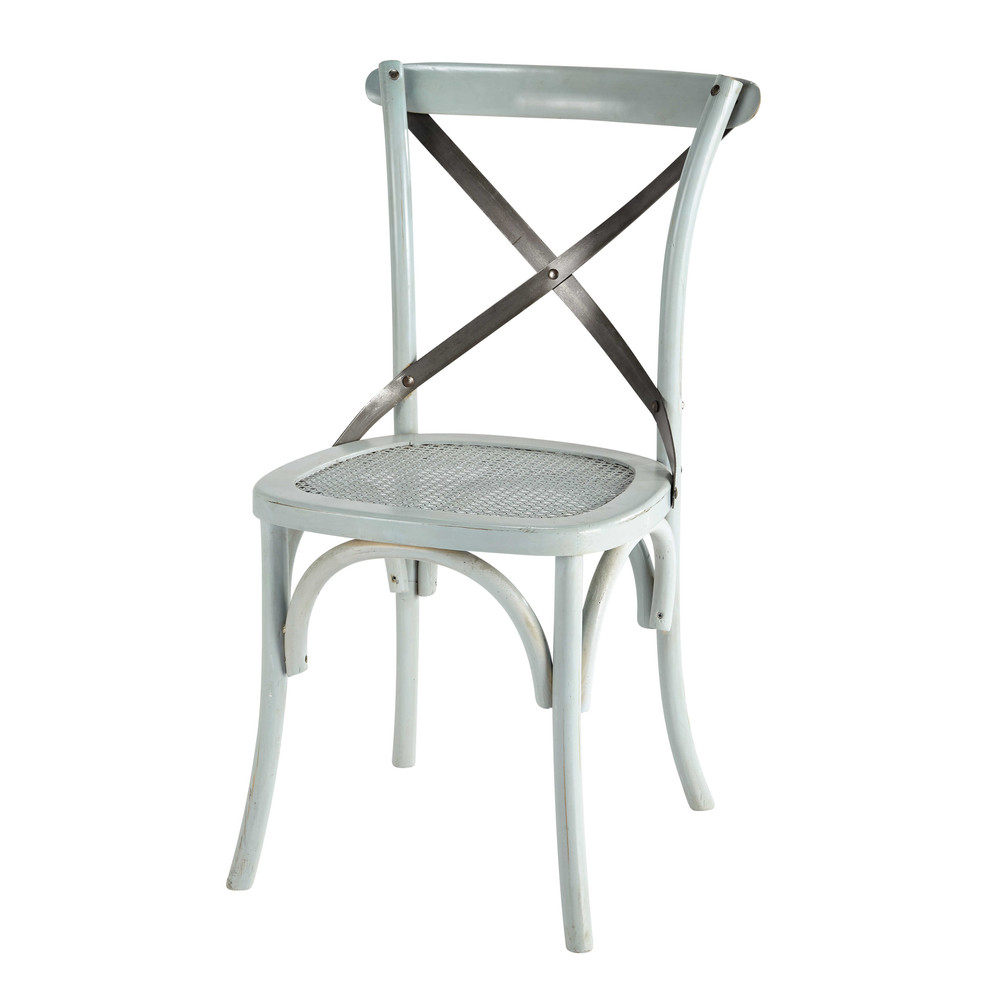Chaise bistrot bleue tradition maisons du monde for Chaise de bistrot blanche