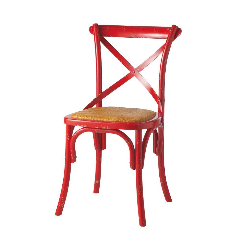 chaise bistrot rouge tradition maisons du monde. Black Bedroom Furniture Sets. Home Design Ideas