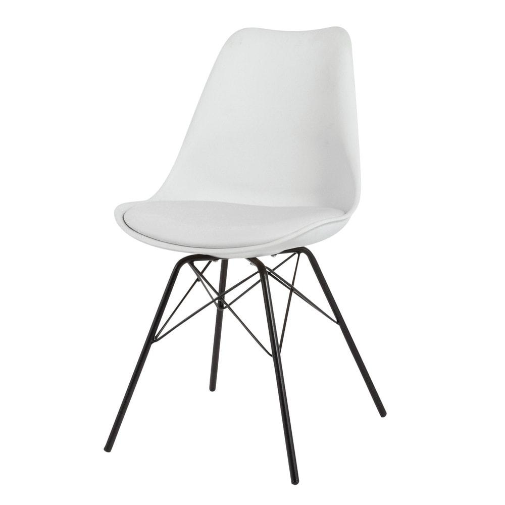 Chaise blanche en polypropyl ne et m tal noir coventry - Chaise blanche et noir ...