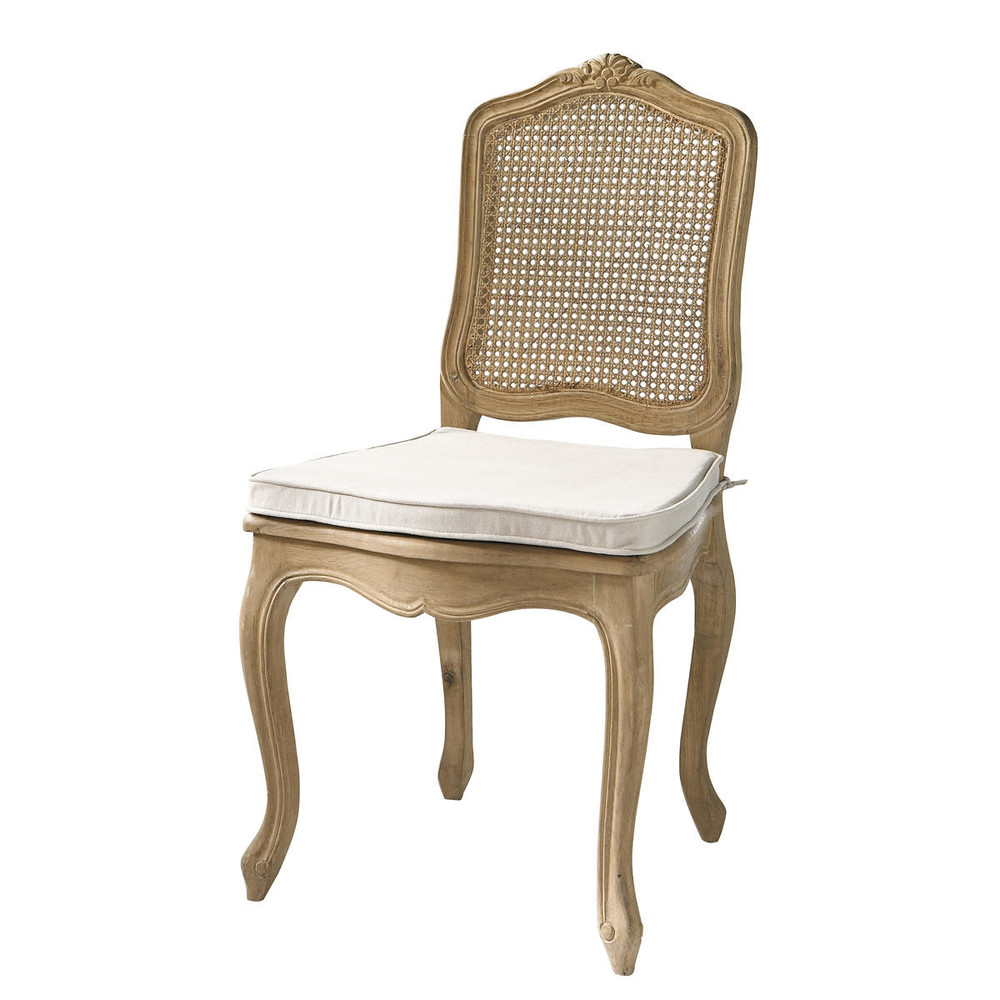 Chaise cann e en ch ne massif gustavia maisons du monde for Chaise en chene massif