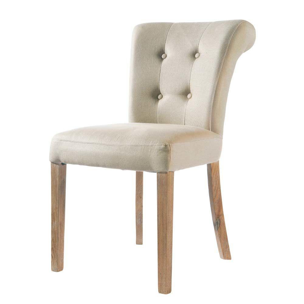chaise capitonnée en lin écru boudoir | maisons du monde