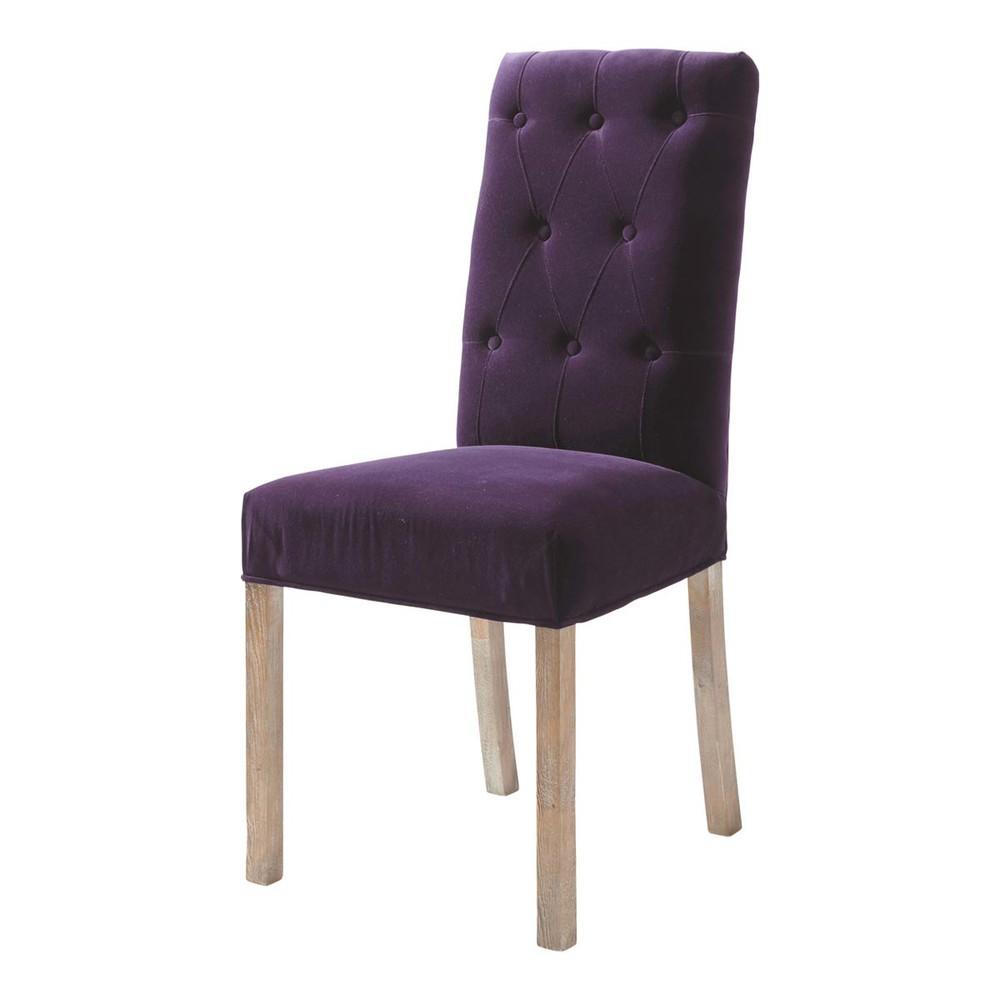 chaise capitonn e en velours et bois aubergine elizabeth maisons du monde. Black Bedroom Furniture Sets. Home Design Ideas
