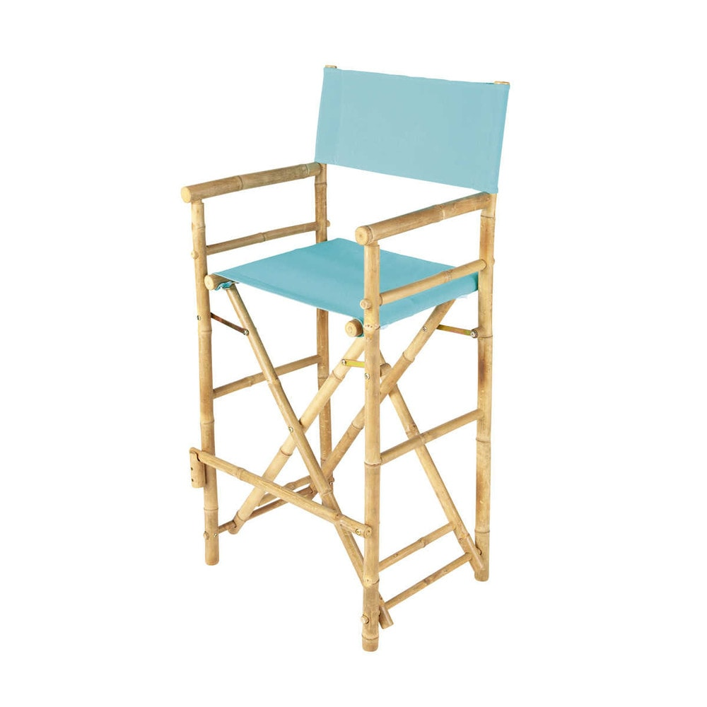 chaise de bar de jardin en tissu et bambou bleu turquoise. Black Bedroom Furniture Sets. Home Design Ideas