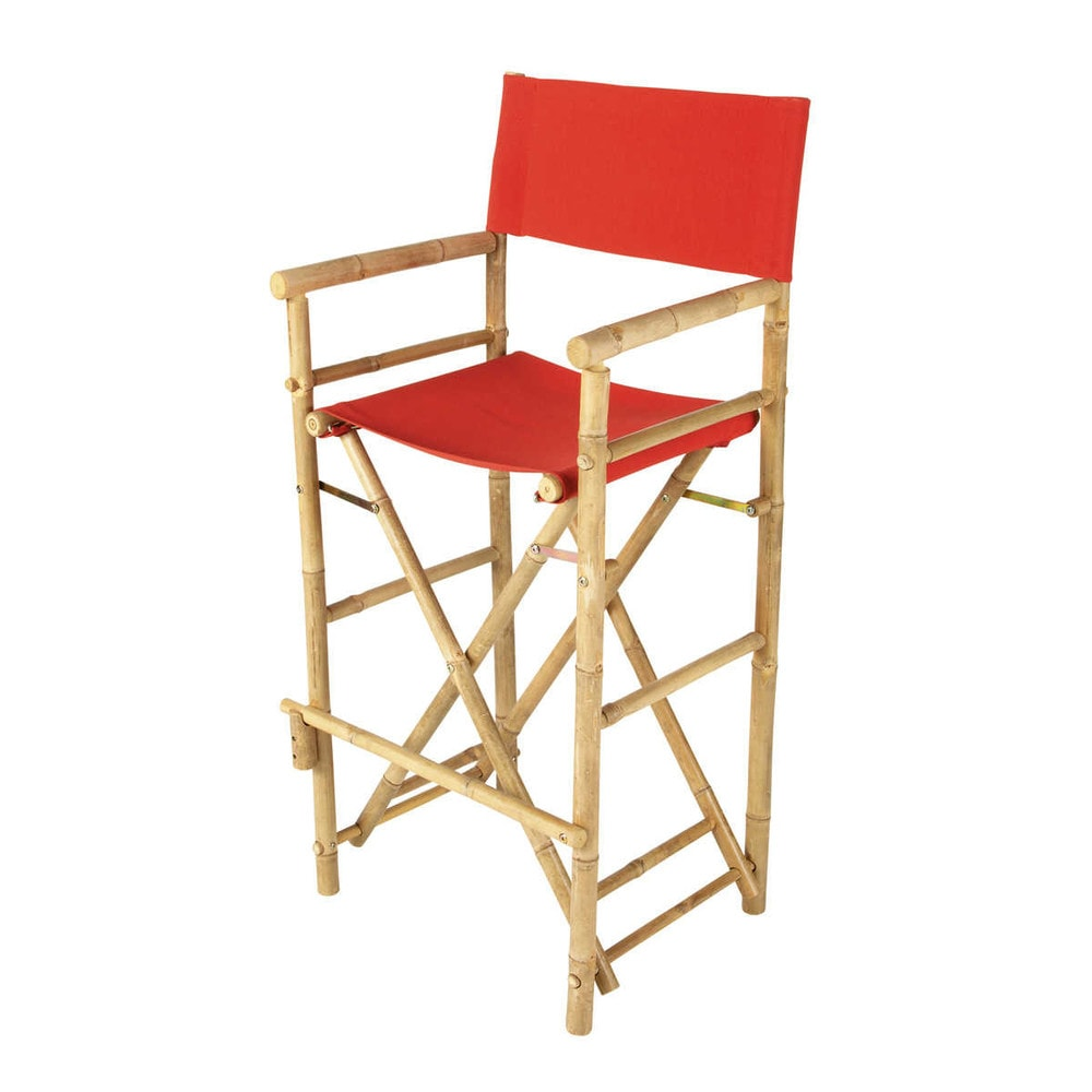 Chaise de bar de jardin en tissu et bambou rouge robinson - Maison du monde chaise de bar ...