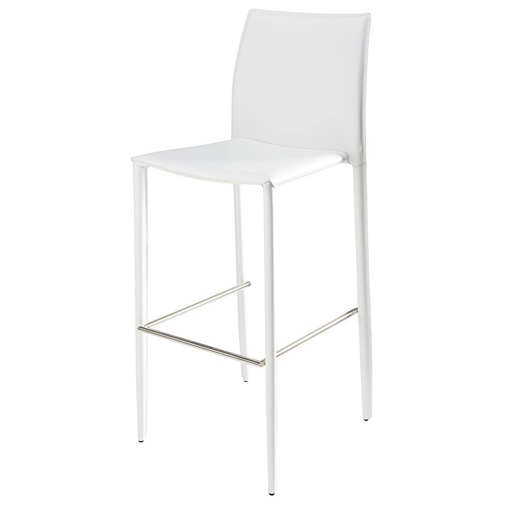 Chaise de bar en cuir recycl et m tal blanc klint for Chaise de bar en cuir