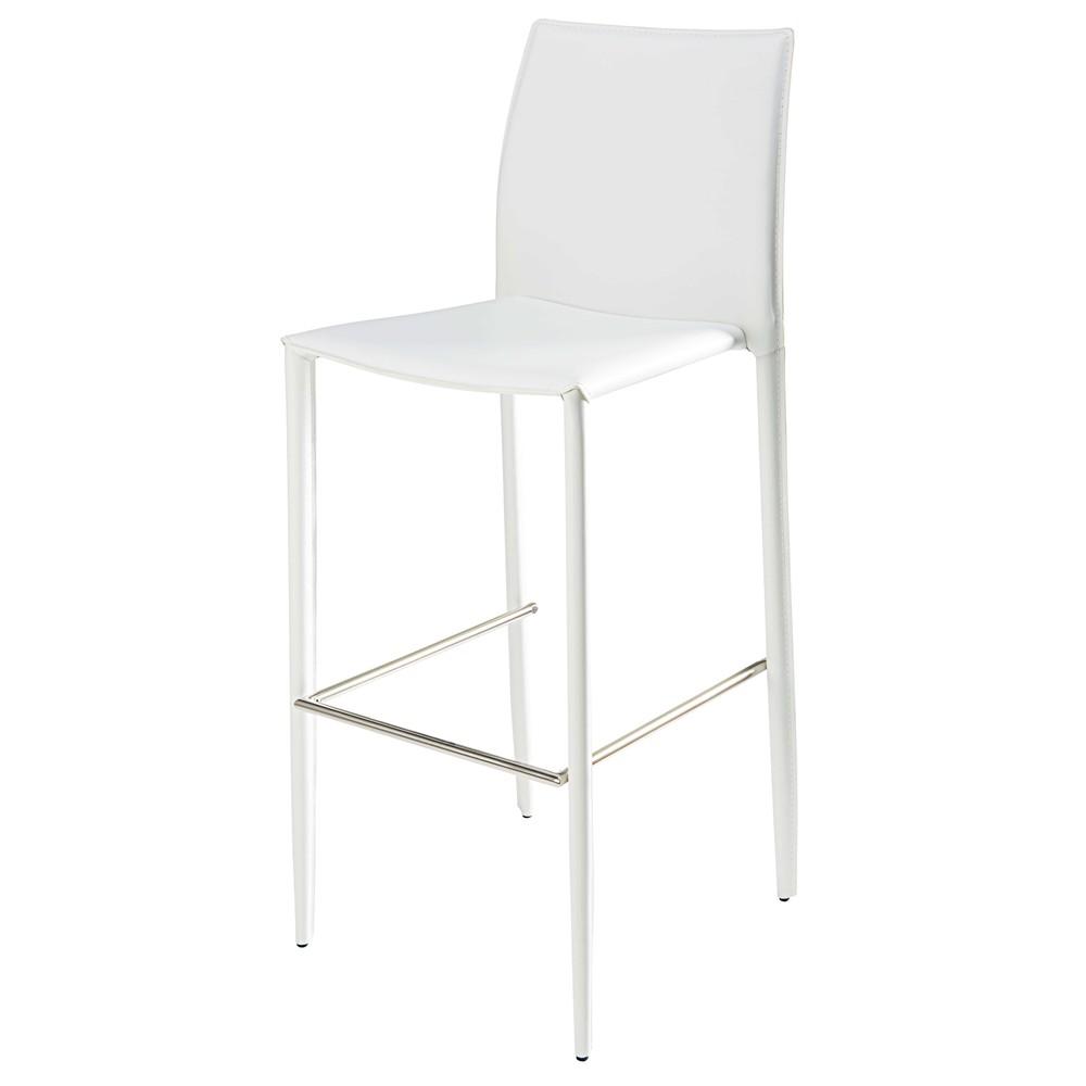 chaise de bar en synderme blanc klint maisons du monde. Black Bedroom Furniture Sets. Home Design Ideas