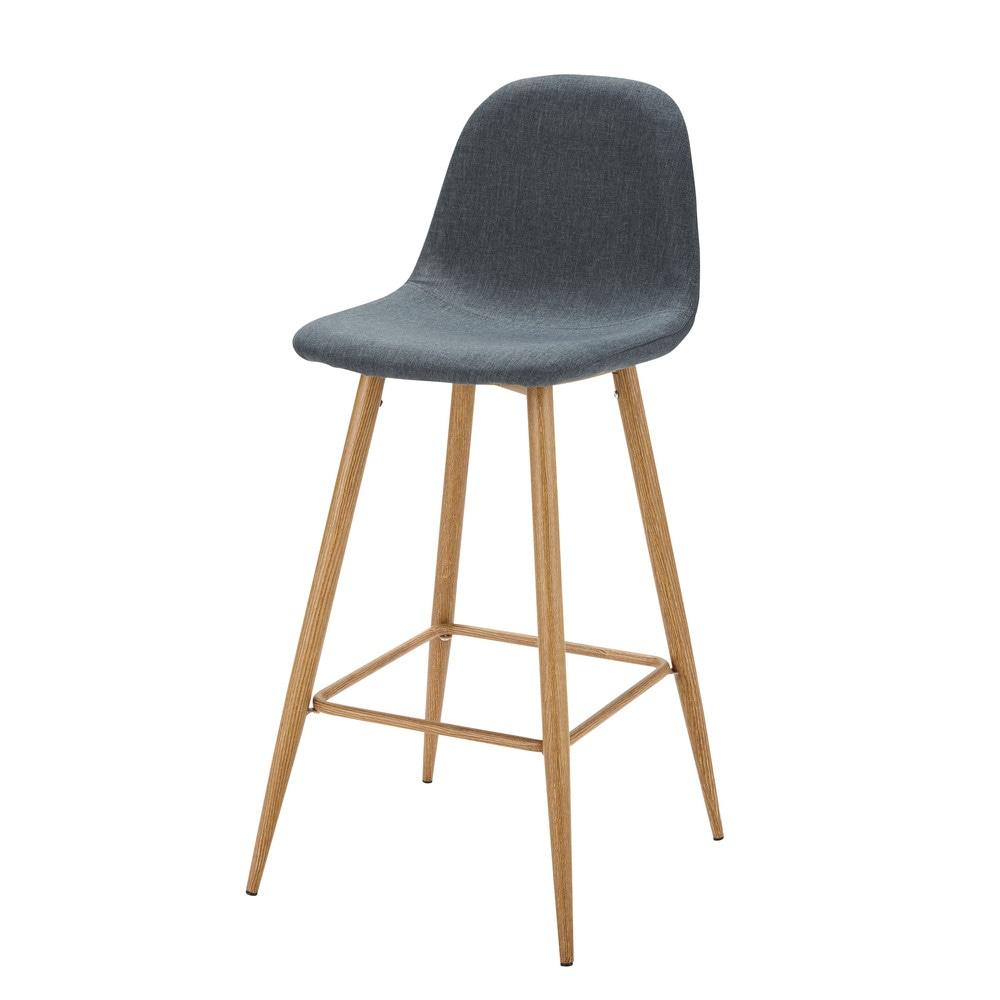 chaise de bar en tissu bleu jean clyde maisons du monde. Black Bedroom Furniture Sets. Home Design Ideas
