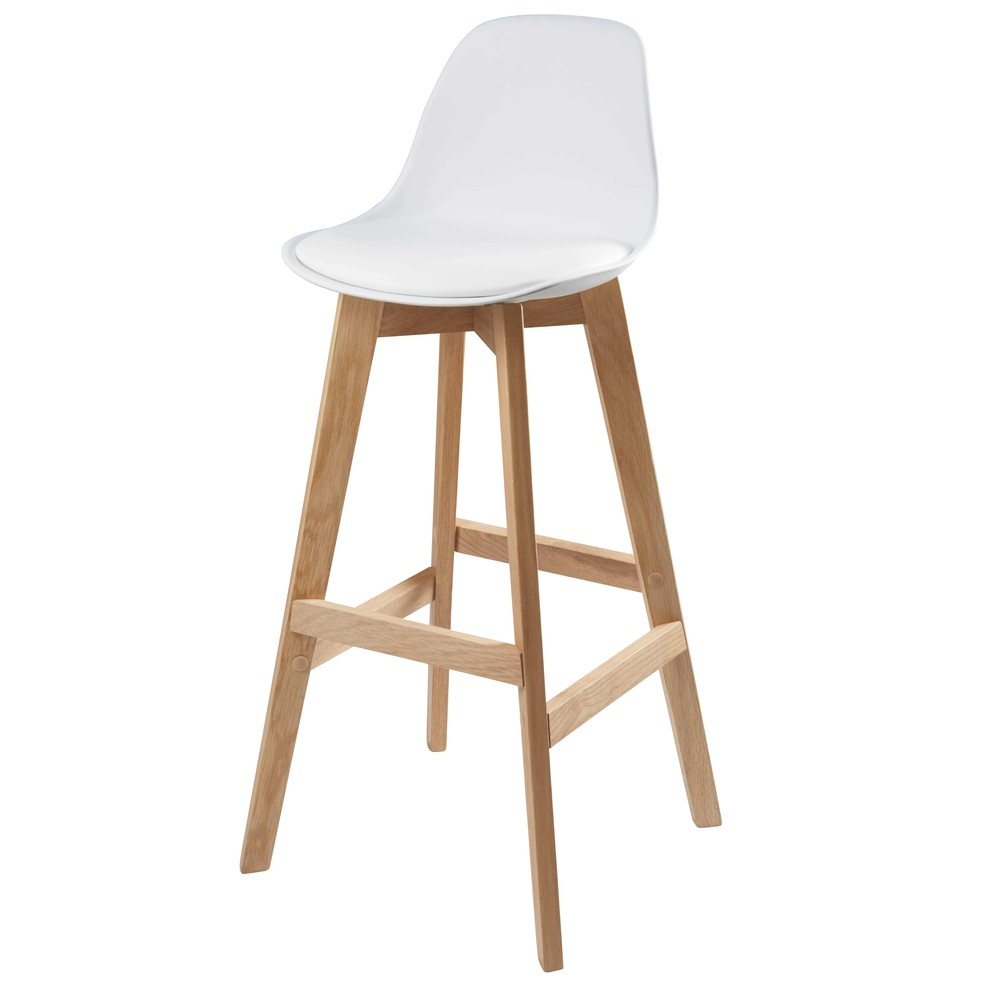 chaise de bar scandinave blanche ice maisons du monde