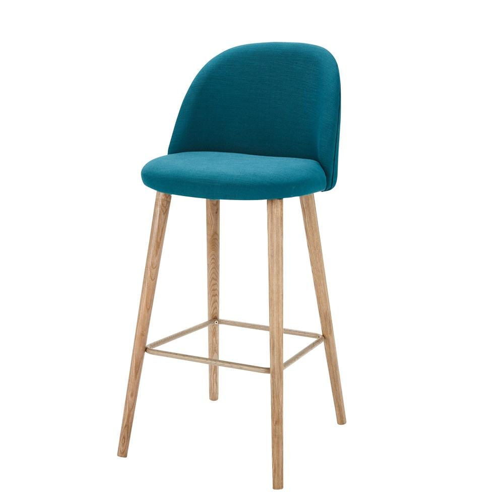 chaise de bar vintage en tissu bleu p trole mauricette maisons du monde. Black Bedroom Furniture Sets. Home Design Ideas