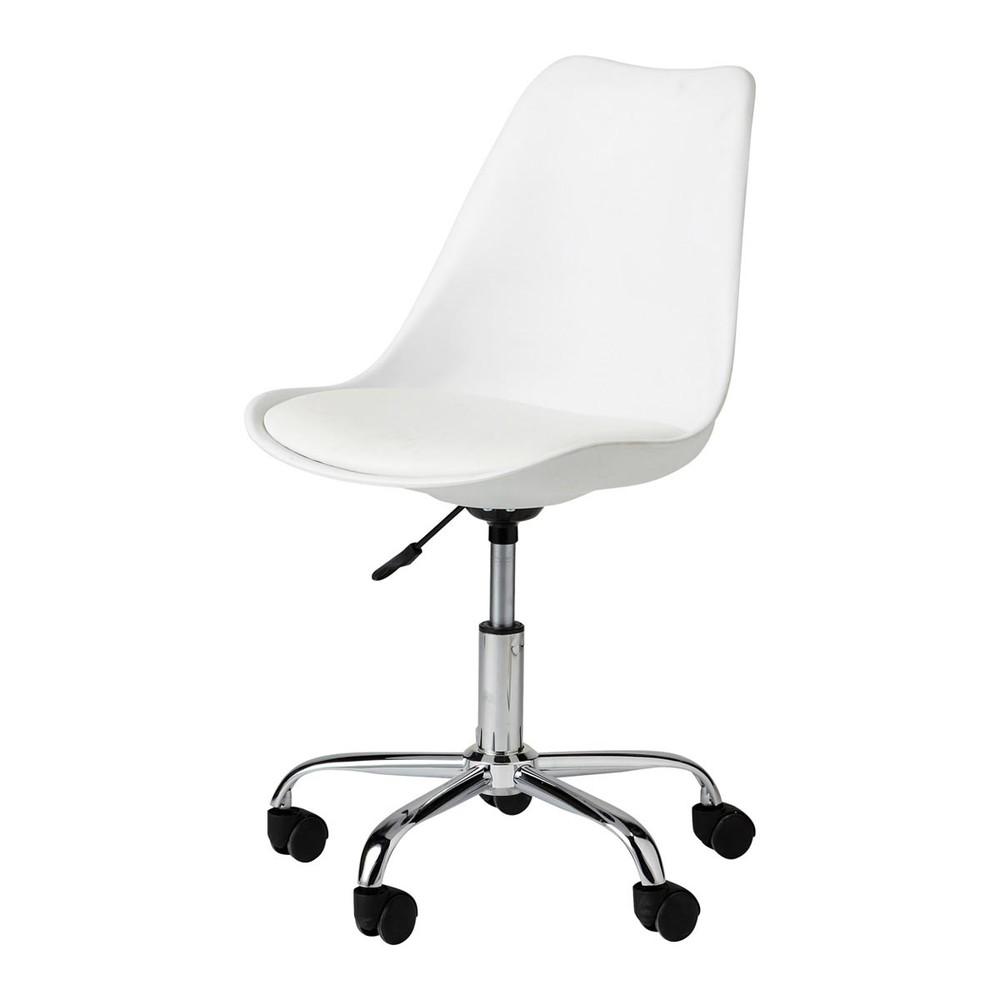 Chaise de bureau roulettes blanche bristol maisons du for Roulettes pour chaise de bureau