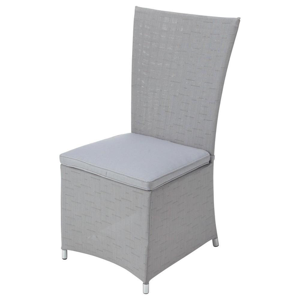 Chaise de jardin coussin en r sine tress e et tissu grise ibiza maisons d - Coussin de chaise maison du monde ...