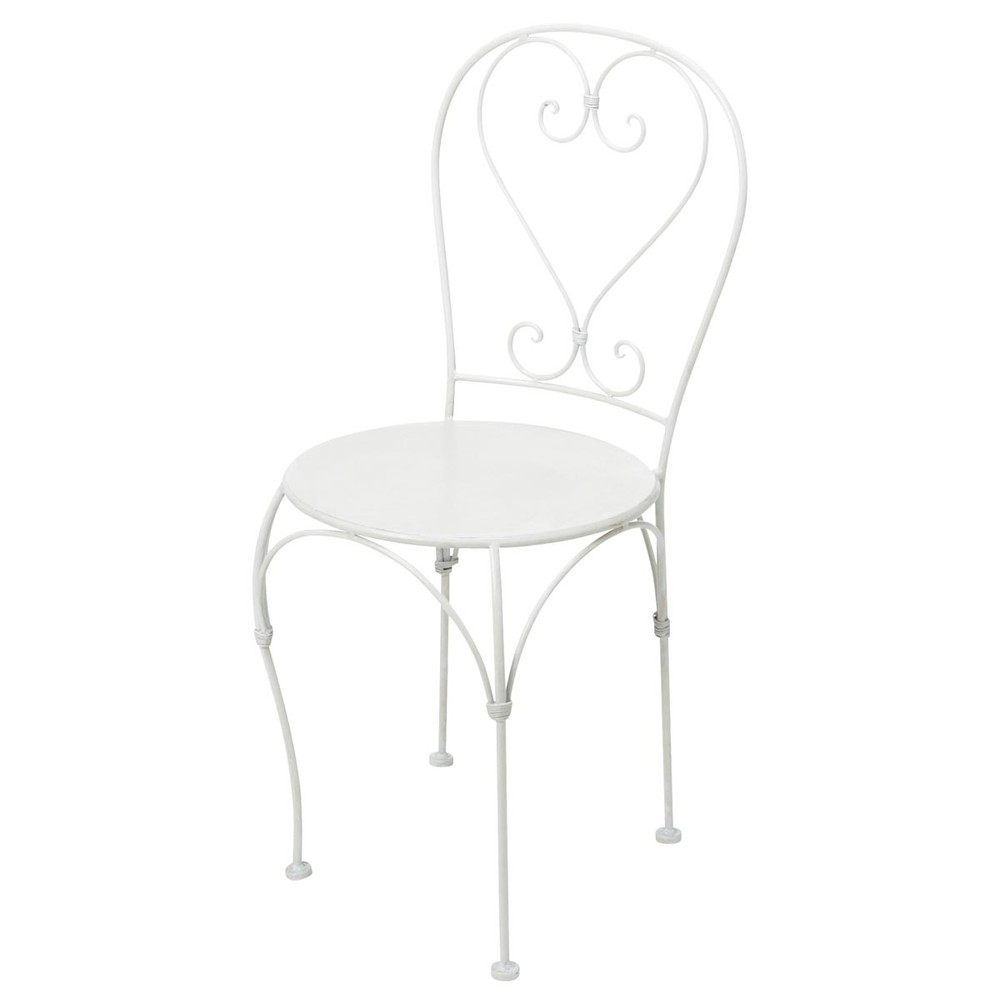 Chaise de jardin en fer forg ivoire saint germain maisons du monde - Chaise de jardin fer forge ...
