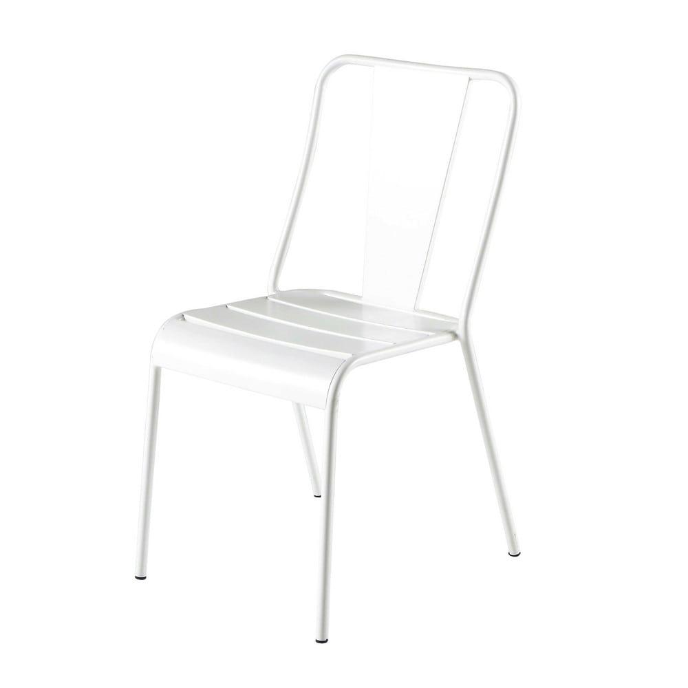 Chaise de jardin en m tal blanche harry 39 s maisons du monde for Chaise longue jardin blanche