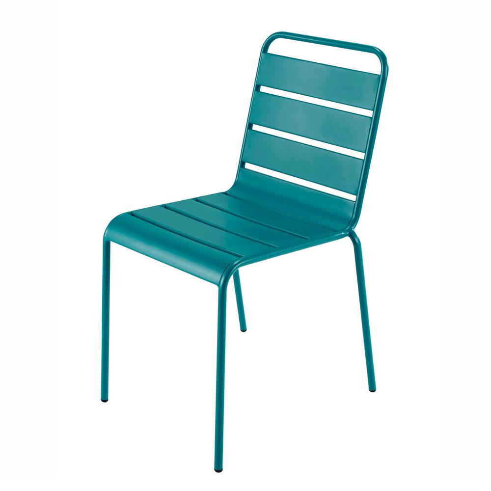 Chaise de jardin en m tal bleu canard batignolles - Chaise de jardin coloree ...